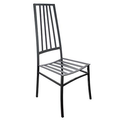 Schwarzer Stuhl aus verzinktem Eisen in italienischem Design Michela