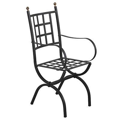 Черный стул из оцинкованного железа в итальянском дизайне Aurora с подлокотниками