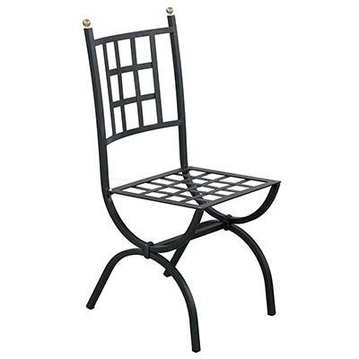 Black galvanized iron chair in Italian design Aurora