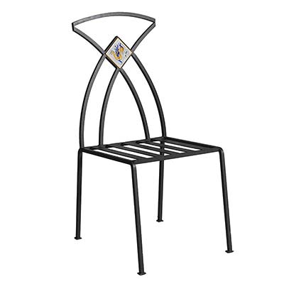 Black galvanized iron chair in Italian design Giunone