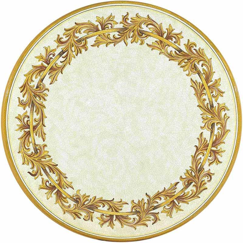Piano tondo dipinto a mano con eleganti decori in oro