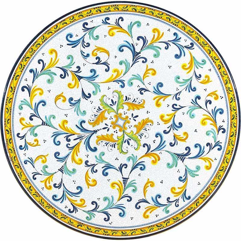 Piano tondo dipinto a mano con eleganti decori colorati