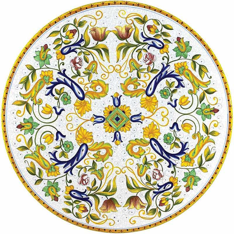 Piano tavolo rotondo dipinto a mano con decori colorati