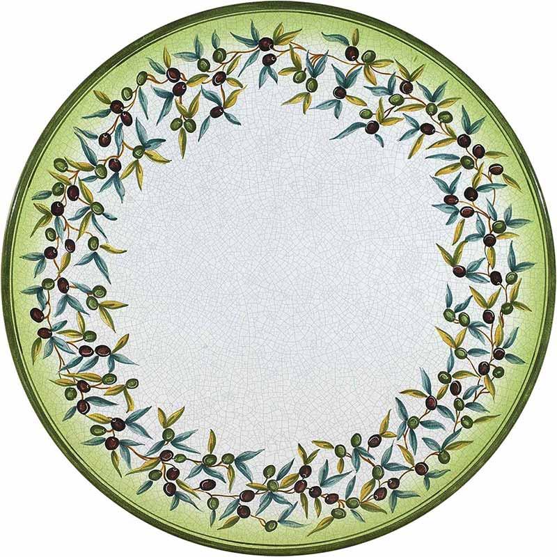 Piano tavolo rotondo dipinto a mano con olive e foglie
