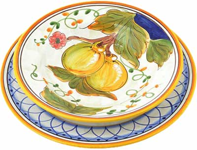 Ceramic tableware set in design Positano
