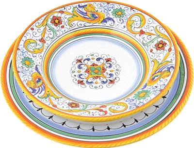Ceramic tableware set in design Raffaellesco