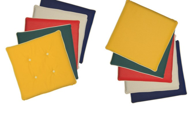 Colored seat cushions fitting to chairs