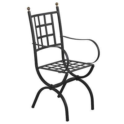 Sedia in ferro zincato nero di design italiano Aurora con bracciolo