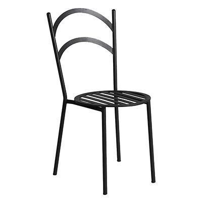Sedia in ferro zincato nero di design italiano Diana