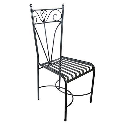 Sedia in ferro zincato nero di design italiano Silvana