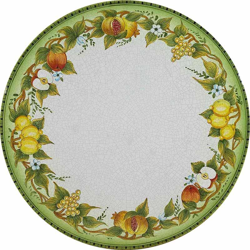 Круглая столешница, расписанная вручную фруктами, листьями и ветками