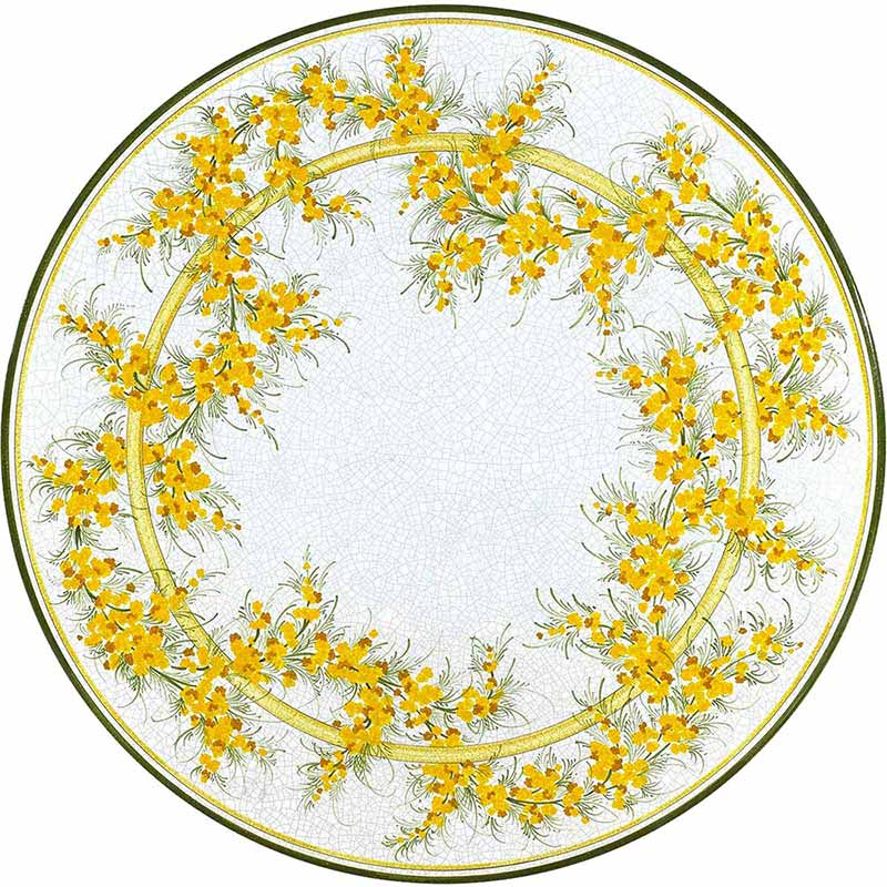 Round table top hand-painted with yellow flowers on a white background
