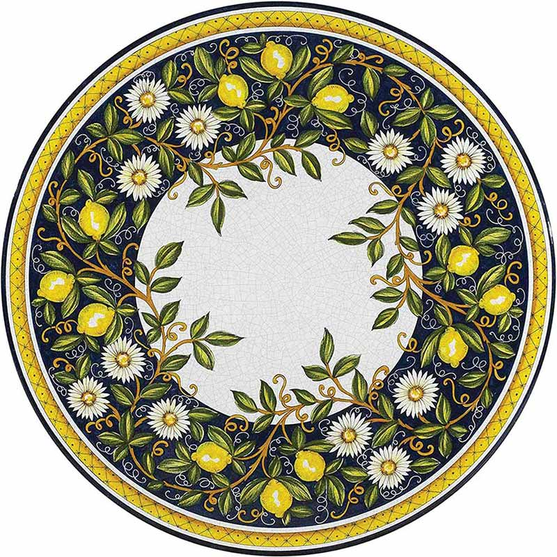 Round colorful table top hand-painted with lemons, flowers and other elements