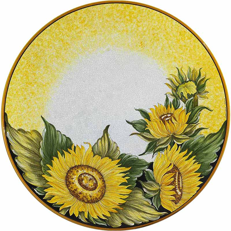 Round table top hand-painted with sunflowers on a yellow background