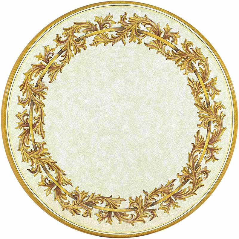 Round table top hand-painted with elegant gold decorations