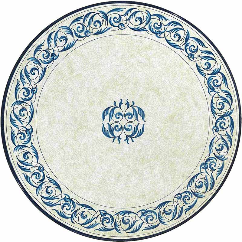 Round table top hand-painted with blue decorations on a light background
