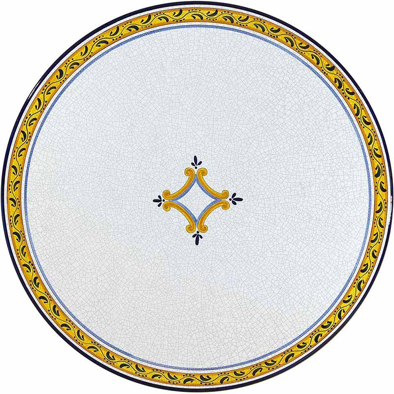 Round table top hand painted with yellow, blue and black elements