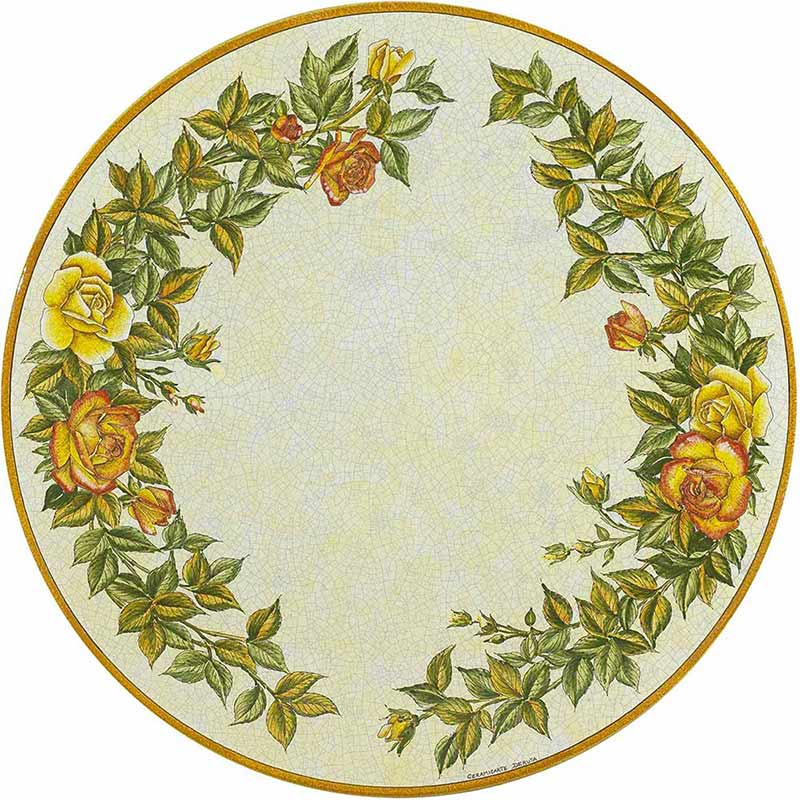 Round table top hand-painted with roses and leaves
