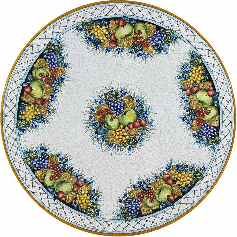 Round table top hand-painted with fruits and other blue decorations