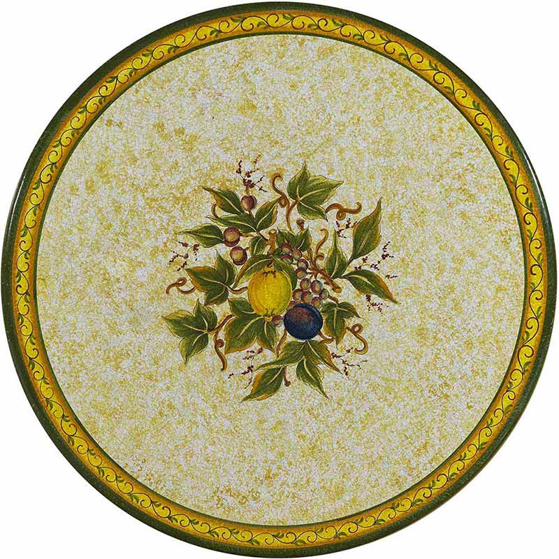 Round table top hand-painted with classic elements from nature