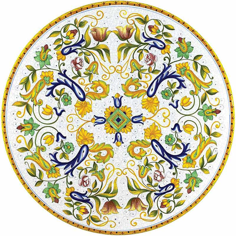 Round table top hand-painted with colorful decorations
