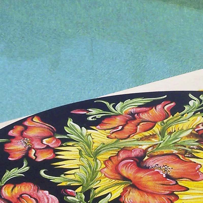 Close up of table top in design Van Gogh by the pool