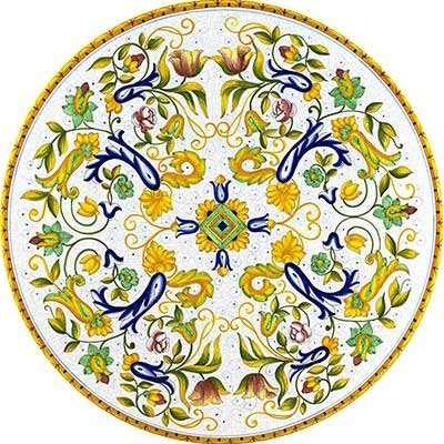 Piano del tavolo dipinto a mano in design Toscana