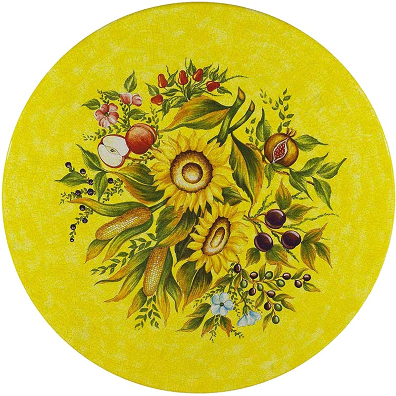 Runde Tischplatte handbemalt Sonnenblumen und Früchten auf gelbem Grund