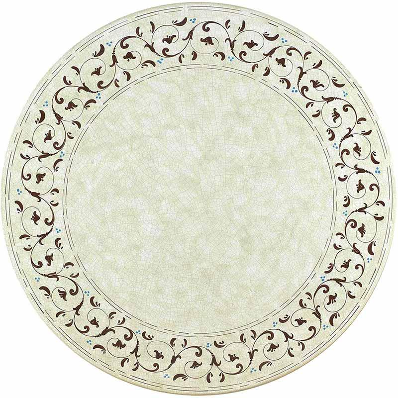 Runde Tischplatte handbemalt mit braunen und blauen Verzierungen