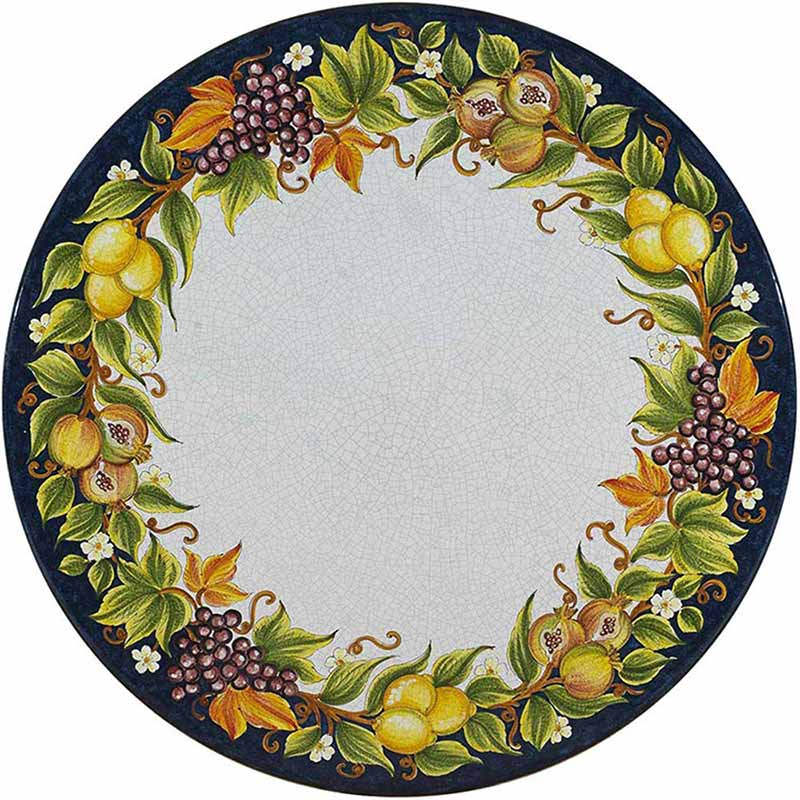 Runde Tischplatte handbemalt mit bunten Früchten und Blättern