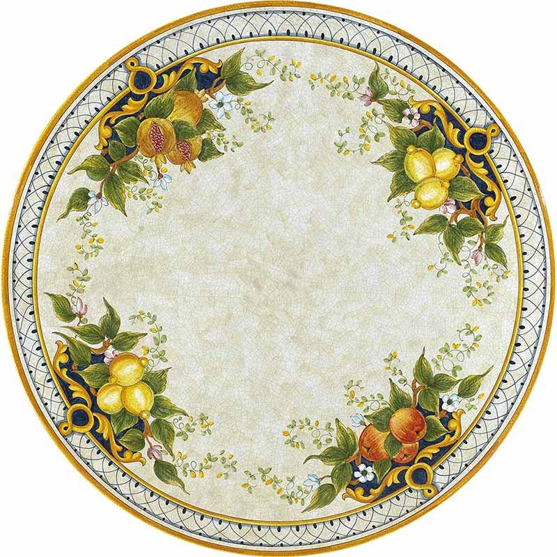 Runde Tischplatte handbemalt mit Früchten, Blättern und anderen Verzierungen