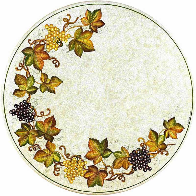 Runde Tischplatte handbemalt mit Weintrauben und Blättern