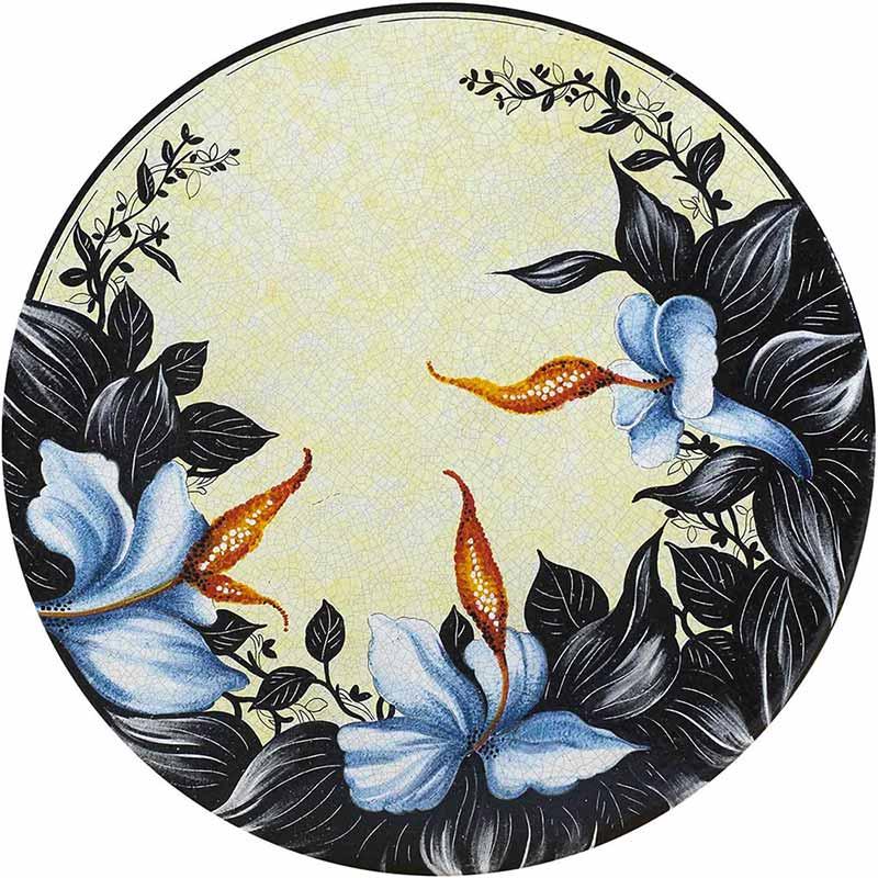 Runde Tischplatte handbemalt mit blauen Orchideen und schwarzen Blättern