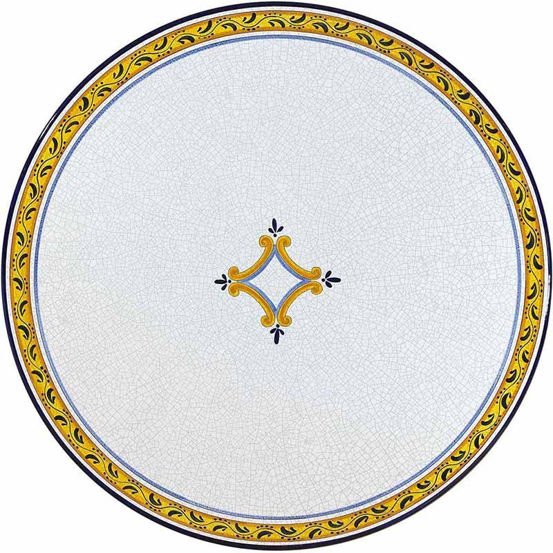 Runde Tischplatte handbemalt mit gelben, blauen und schwarzen Elementen