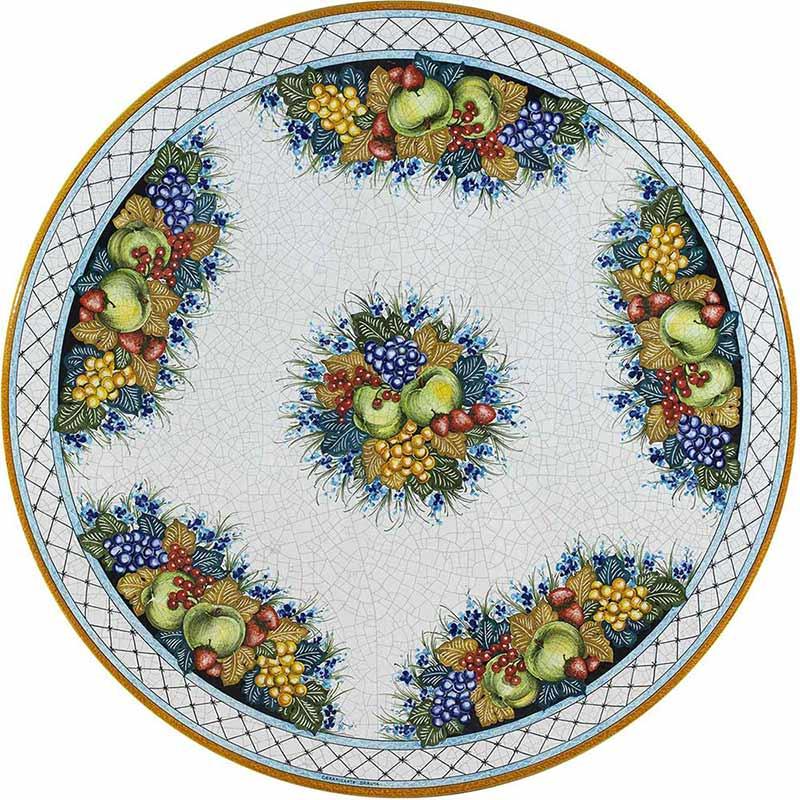 Runde Tischplatte handbemalt mit Früchten und anderen blauen Verzierungen