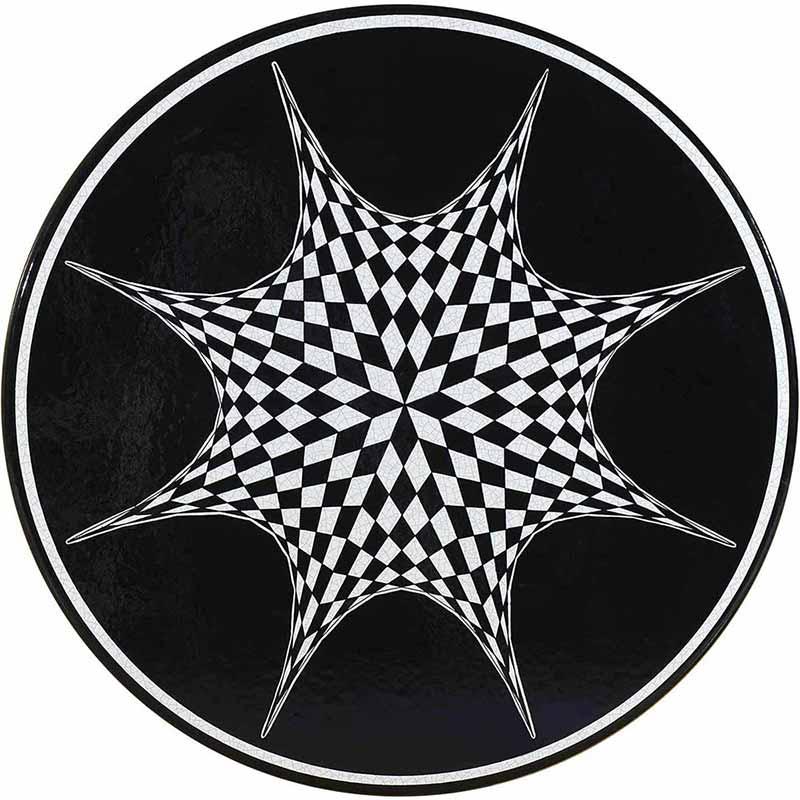 Runde Tischplatte handbemalt mit abstraktem Schachbrett-Muster