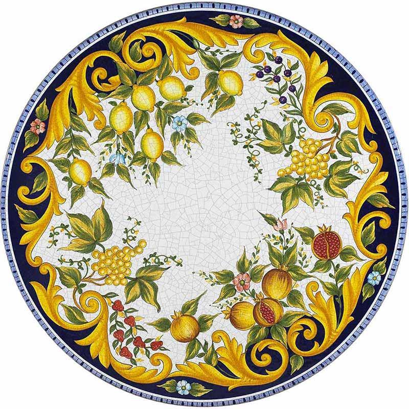 Runde Tischplatte handbemalt mit bunten Früchten, Blättern und weiteren Verzierungen