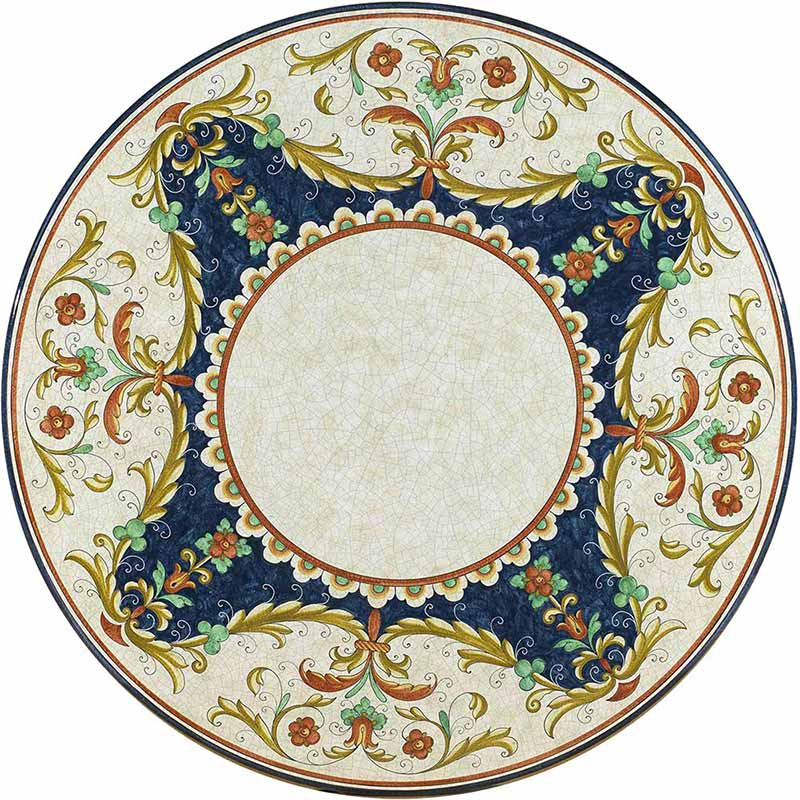 Runde Tischplatte handbemalt mit edlen, bunten Verzierungen