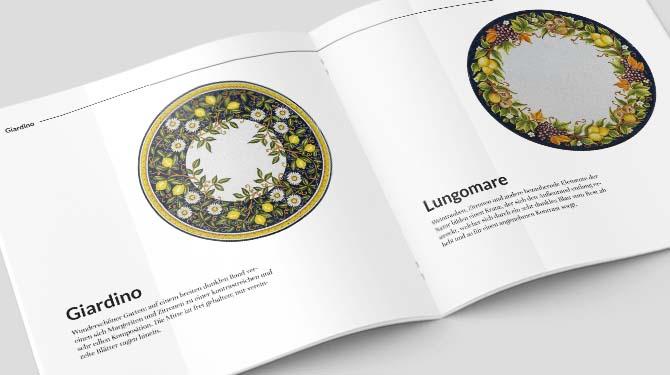 Aufgeschlagener Katalog mit Tischplatten